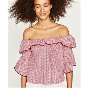 Zara Basic Collection Off The Shoulder Crop Top